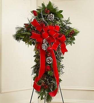 Sympathy Cross in Christmas Colors