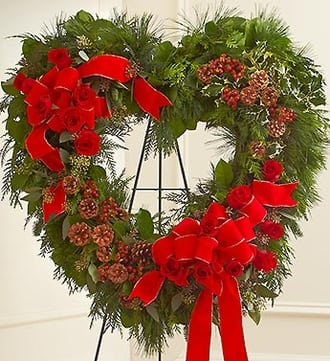 Sympathy Standing Open Heart in Christmas Col