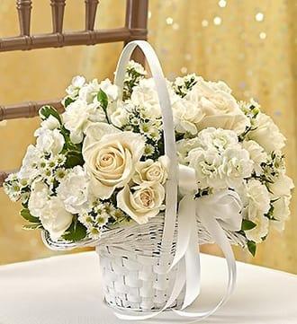 All White Flower Girl Arrangement