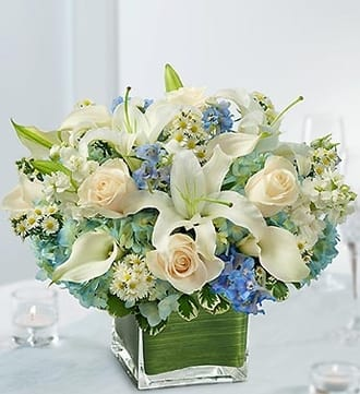 Blue and White Centerpiece in a Vase