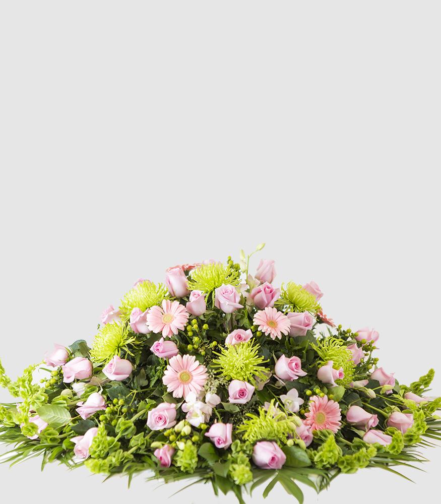 Pink and green casket spray chicago il florist izmirmasajfo