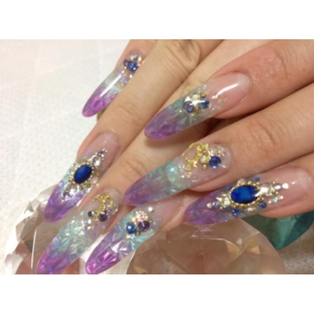 紫陽花色ステンドネイル☆
