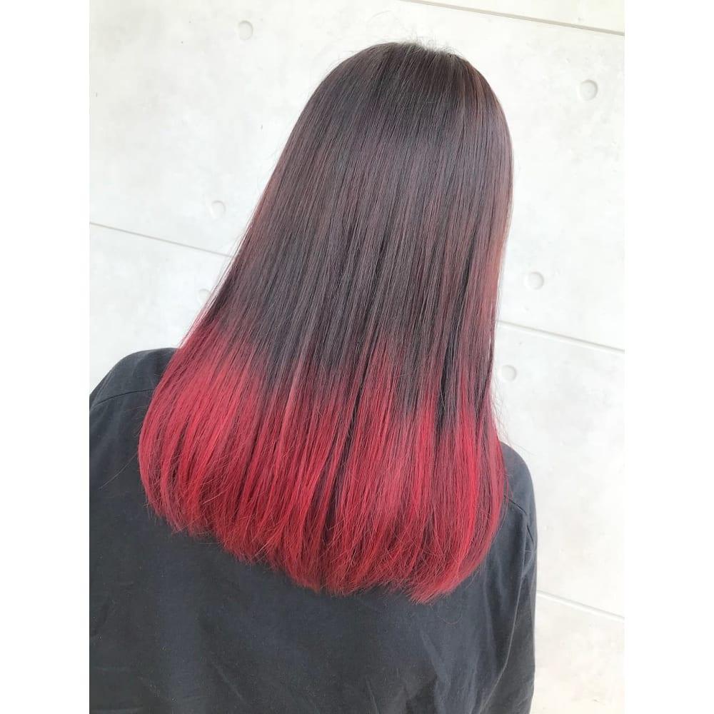 特殊カラー 赤グラデーション Hair Therapy Sara 荒井店 ヘア