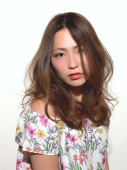 【ZELE大井】淡色グラデーションカラー サーフセミロング