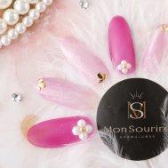 ◆異素材ピンク&パールフラワー
