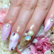 桜色×ゴージャスネイル