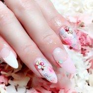 春ピンク×フレンチネイル