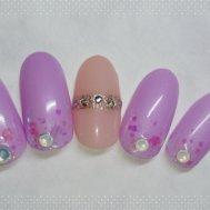 紫ホロ×ピンクベージュ