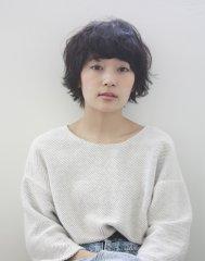【ecouter】黒髪×クセ毛風重めバング×マッシュショート