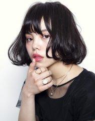 黒髪ワンカールボブ☆大人ニュアンスカール