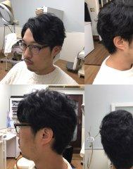 黒髪×くせ毛風パーマ×ビジネススタイル