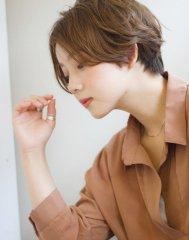 添田】エアリーショート斜めバングひし形シルエットグレージュ