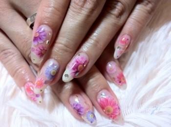エレガント押し花nail