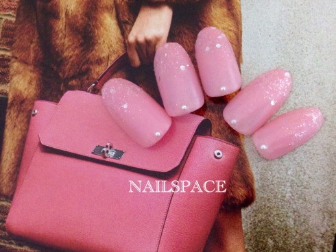 ピンク&粉雪グラデ/グリッター/4980/ホロ