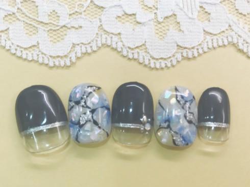 20%OFF☆ブルー大理石×ダークチャコールグレーフレンチ