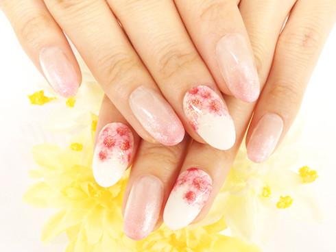 満開!春ピンクの花畑ネイル