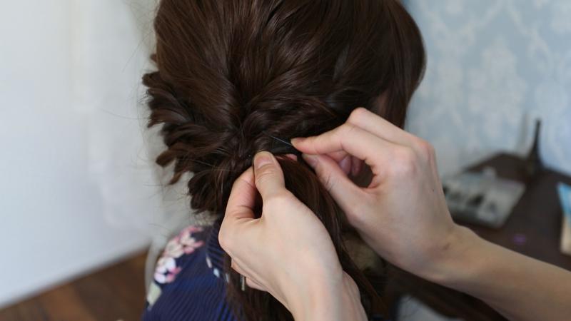21.毛束を固定する